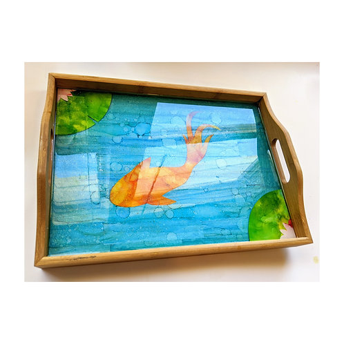 Resin and Alcohol Ink Koi Pond Decorative Bamboo Tray