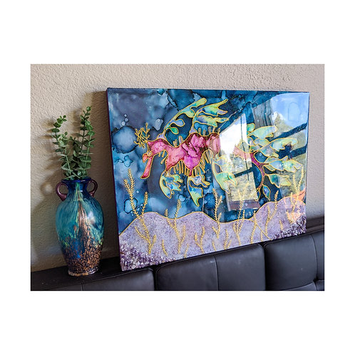 """Sea Dragon Reverie"" Alcohol Ink and Resin on Wood Canvas"