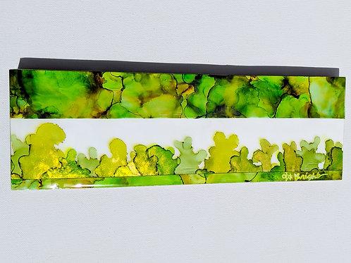 Alcohol ink Cactus Garden Mosaic on 4x12 birchwood