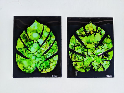 Alcohol ink & Resin Monstera Leaves