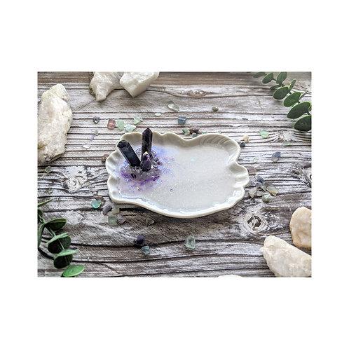 Purple Fluorite Crystal Ceramic Ring Dish