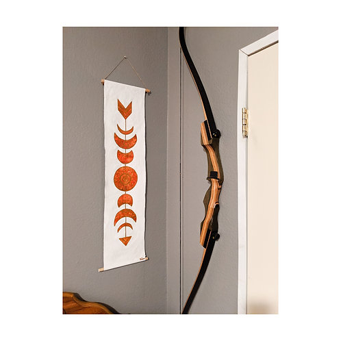 Arrow moonphase watercolor canvas banner