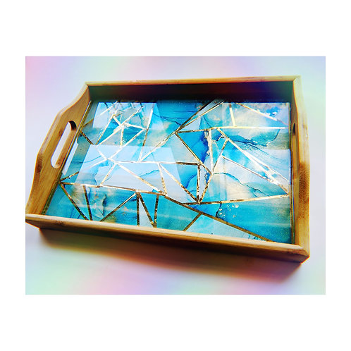 Medium Alcohol Ink and Resin Geometric Bamboo Tray