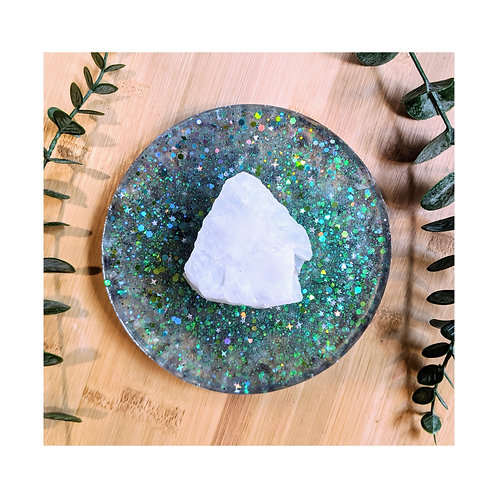 Rocky Mountain Quartz and Rainbow Fluorite Resin Crystal Charging Plate
