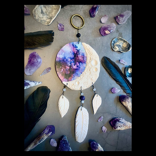 Moon Phase Clay and Ink Dreamcatcher Sculpture Wall Hanging