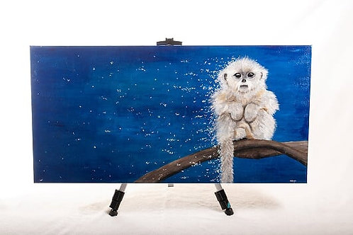 Endangered Golden snubbed-nosed monkey painting