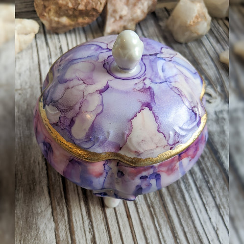 Hand Painted Ceramic Jewelry Dish with Lid
