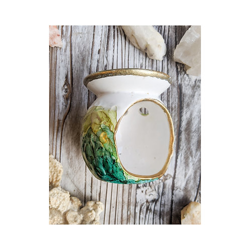 Green and Gold Painted Ceramic Oil/Wax Burner