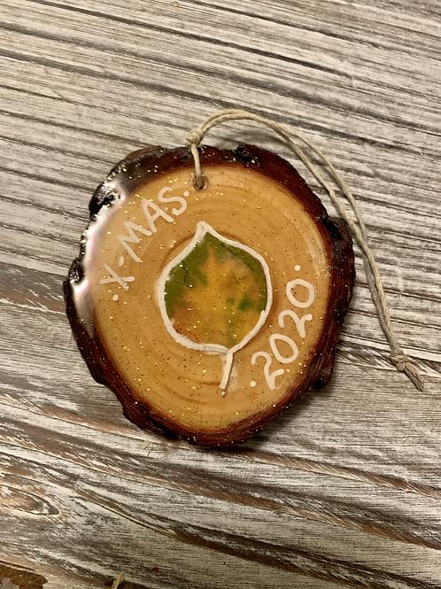 Resin Wood Slice Aspen Ornament