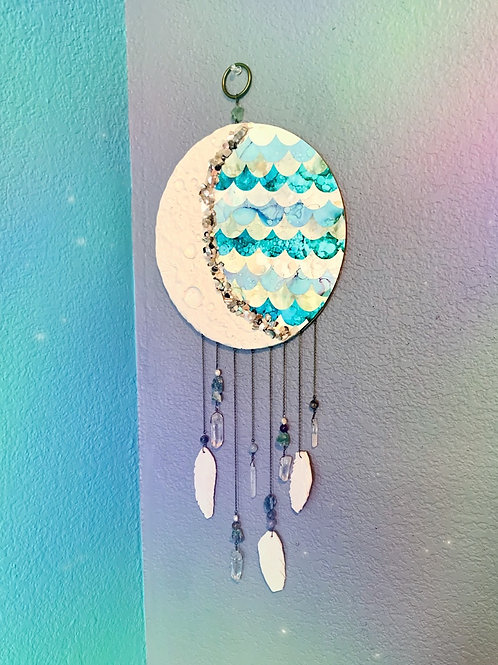 Mermaid Moon Dreamcatcher with Crystals