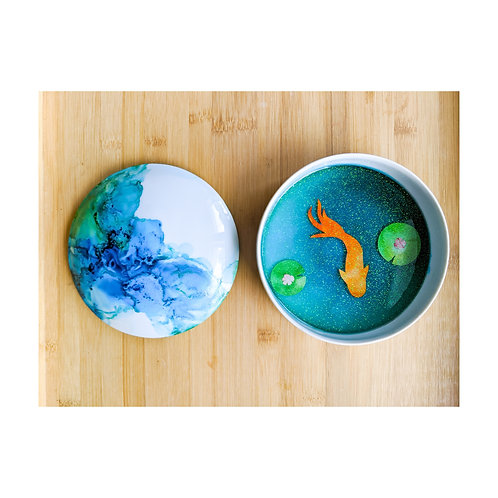 Porcelain Ink and Resin Zen Koi Pond