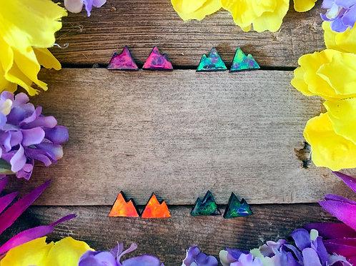 Mini Mountain wooden Earring Studs