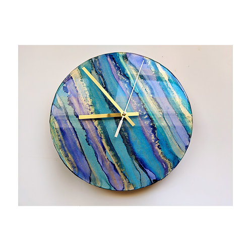 Blue Aqua and Gold Alcohol Ink and Resin Clock