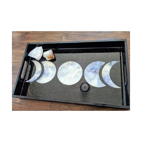 Dark Moon Resin Wood Tray