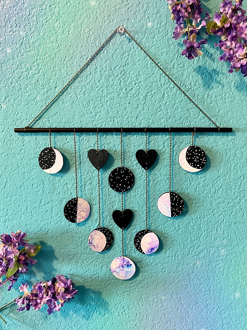 Magical Wooden Moon Phase Mobile in Lavender