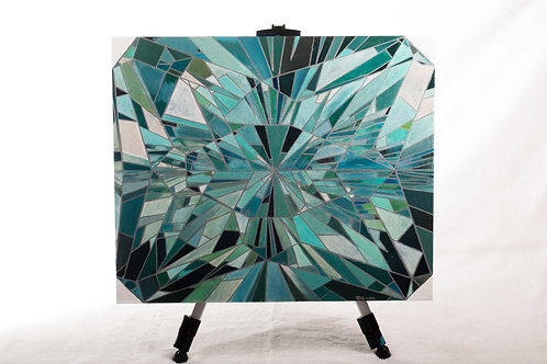 Aquamarine gemstone arcylic painting