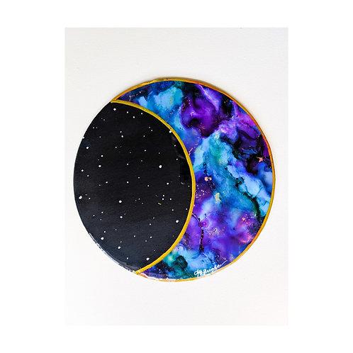 Purple & Aqua Resin Crescent Moon