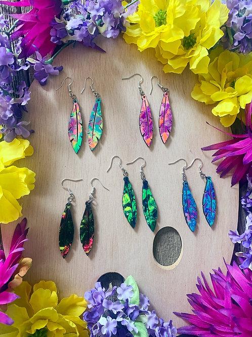 Wooden Feather Dangle Earrings