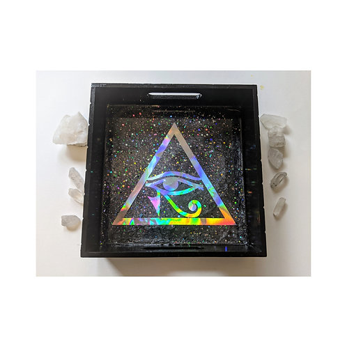 Eye of Horus Holographic Resin Wood Tray