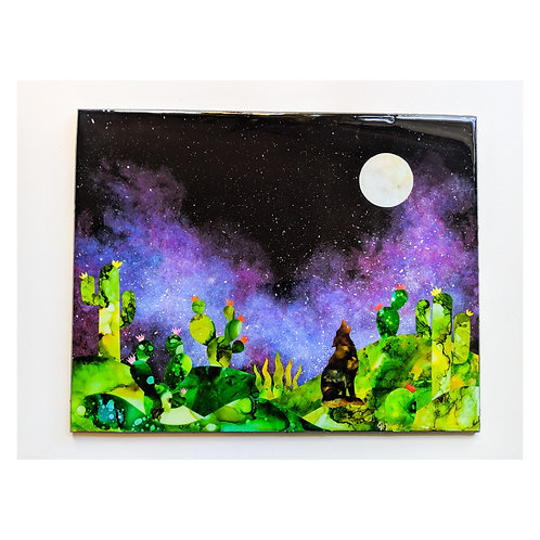 """Galacti Cacti II"" Large resin collage"