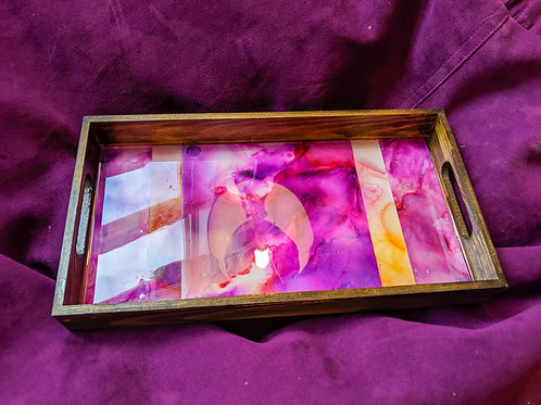 Magenta & Orange Resin Wooden Tray