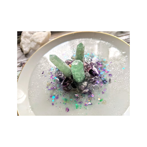 Green Fluorite Crystal Ceramic Ring Dish