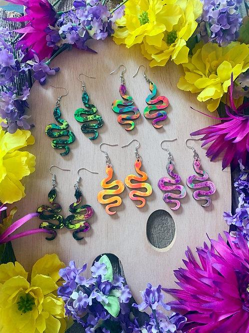 Wooden Snake Dangle Earrings
