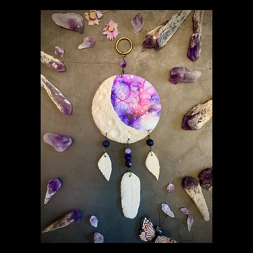Moon Phase Clay and Ink Dreamcatcher Wall Sculpture