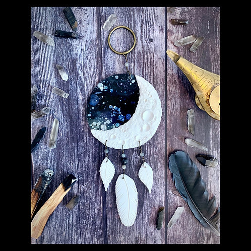 Mini Clay and Ink Moon Catcher with Crystals