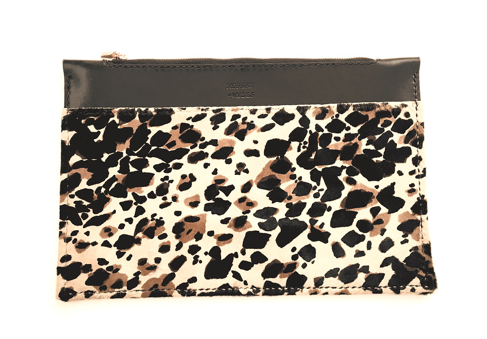 'The Zedel' - Leopard print leather clutch by Morgan + Wells