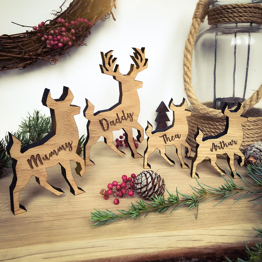 Personalised wooden reindeers by Bear and Rose.