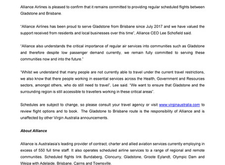 Alliance Airlines remains committed to Gladstone