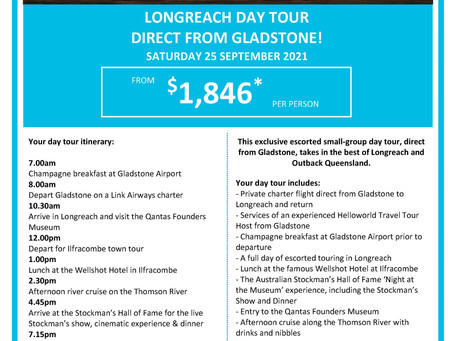 Longreach Day Tour departing Gladstone September 2021