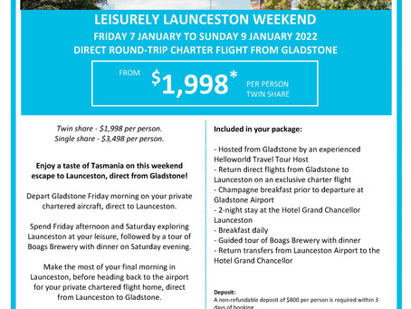 Direct Charter to Tasmania from Gladstone