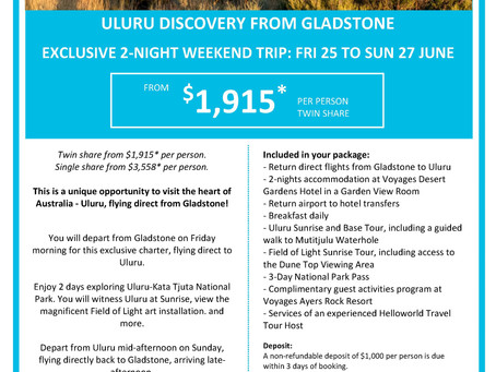 Fly direct to Uluru with Helloword Travel Gladstone