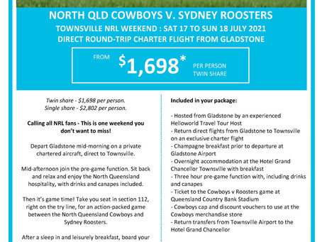 Fly Direct to Townsville to support the QLD Cowboys