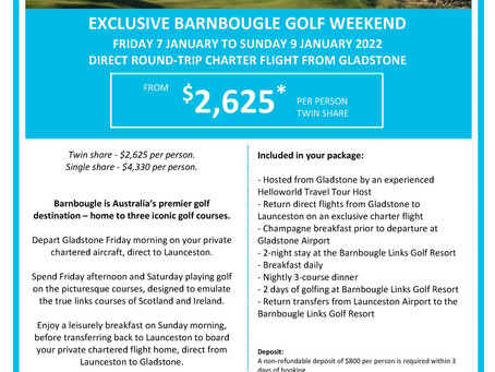 Join Helloworld Travel for a weekend of Golf at Barnbougle