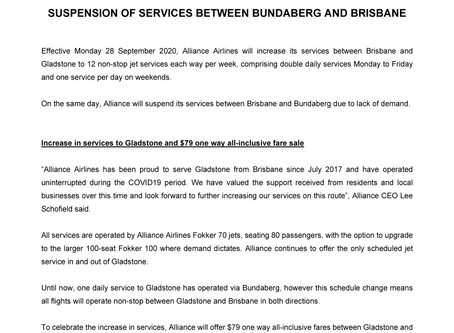 Alliance Airlines increases non-stop services between Gladstone and Brisbane