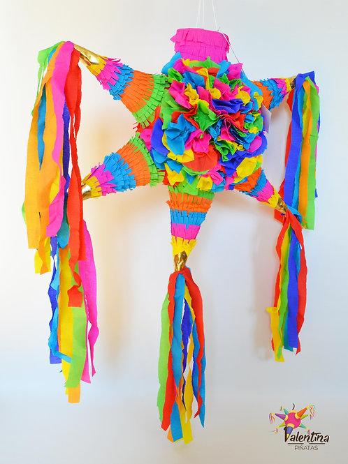 """MEDIUM- Blumige Stern-Piñata mit 5 Spitzen """"Bunt"""""""
