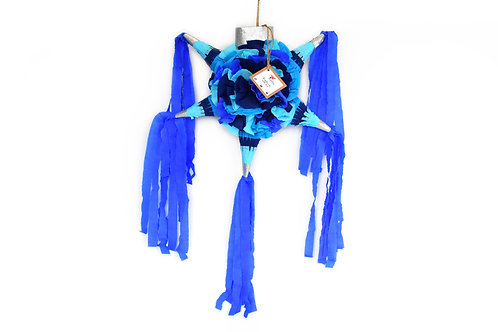 "MINI- Blumige Stern-Piñata mit 5 Spitzen ""Blautöne"""