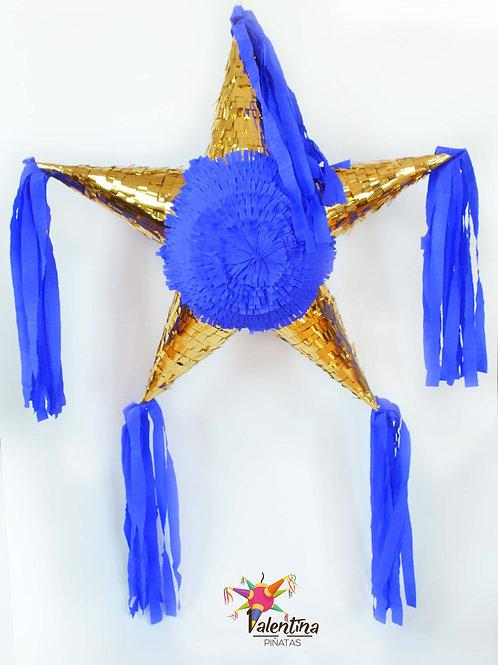 """LARGE- Blumige Stern-Piñata mit 5 Spitzen """"Marineblau/Gold"""""""
