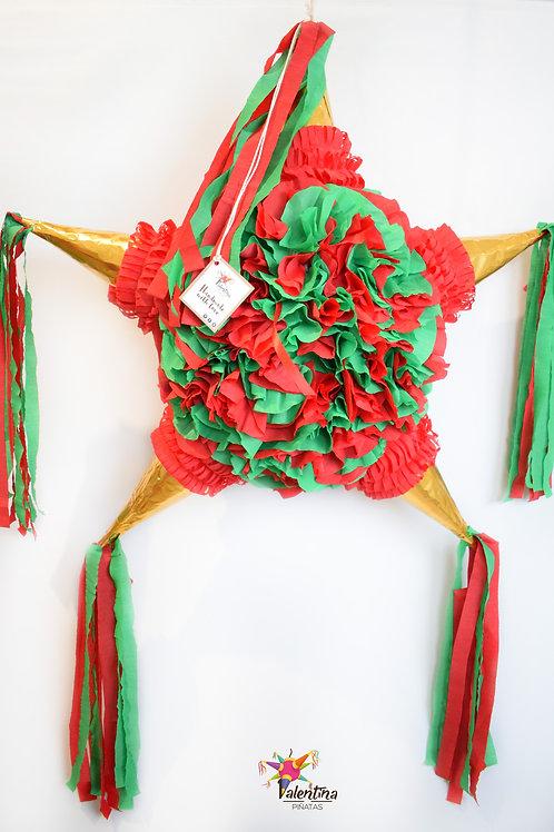 """LARGE- Blumige Stern-Piñata mit 5 Spitzen """"Rot/Grün/Gold"""""""