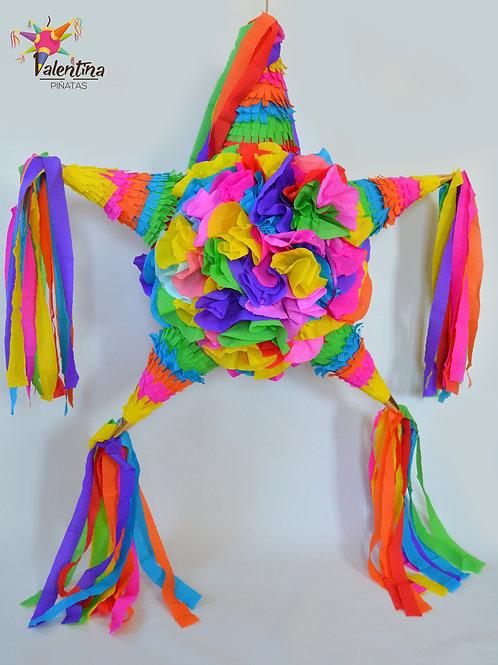 """LARGE- Blumige Stern-Piñata mit 5 Spitzen """"Bunt"""""""