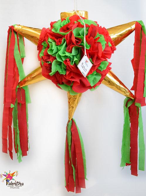 """MEDIUM- Blumige Stern-Piñata mit 5 Spitzen """"Rot/Grün/Gold"""""""