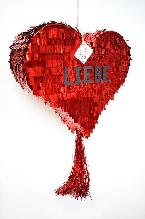 Fancy Heart-Piñata in Metallic Rot- TEXT INDIVIDUALISIERBAR