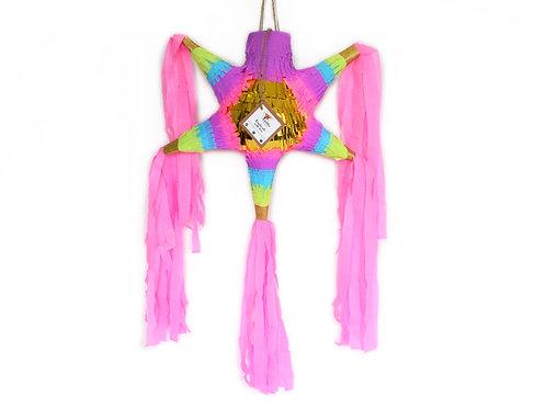 "MINI- Blumige Stern-Piñata mit 5 Spitzen ""Boho Pink"""