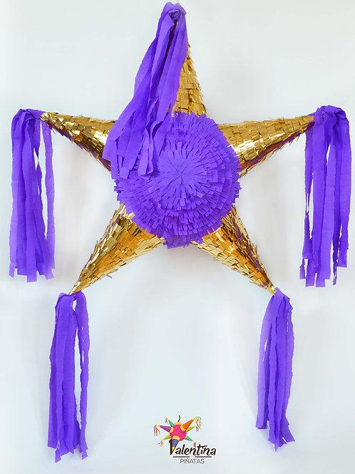"""LARGE- Blumige Stern-Piñata mit 5 Spitzen """"Violett/Gold"""""""