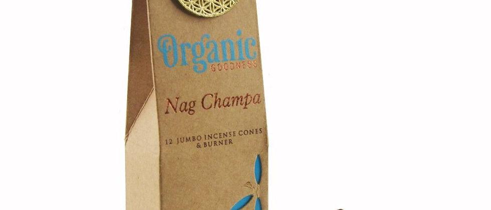 Nag Champa Bio Masala Cônes d'Encens - Boîte de 15 g