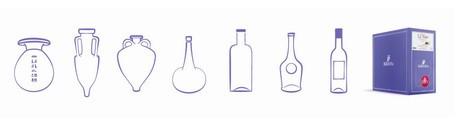 Différents formats de contenants, de l'amphore au cubi, en passant par différentes formes de bouteilles