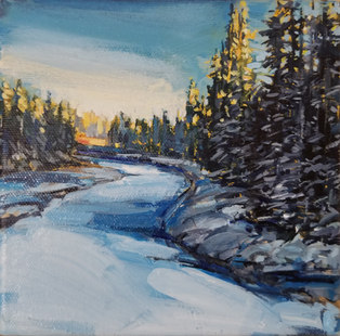 """Setting Sun (Over the Red Deer River) 6""""x6"""" SOLD"""
